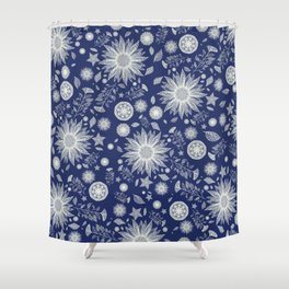 Beautiful Flowers in Navy Vintage Floral Design Shower Curtain
