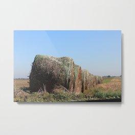 Kansas Country Hay Bales with blue sky Metal Print