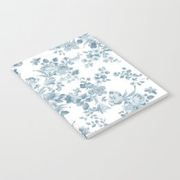 Vintage blue white bohemian elegant floral Notebook