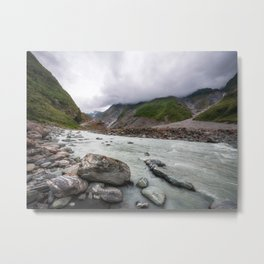 Low angle perspective view from the Waiho River Valley in New Zealand. Metal Print