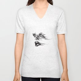 Engraving of a face expressing shock and fear. Unisex V-Neck