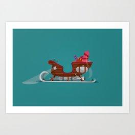 Rocket Sleigh Art Print