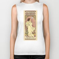 karen hallion Biker Tanks featuring La Dauphine Aux Alderaan by Karen Hallion Illustrations