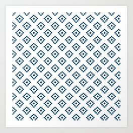 Geometrical abstract hand painted navy blue pattern Art Print