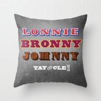 lebron Throw Pillows featuring Lonnie, Bronny, Johnny by Melissa Olson