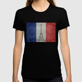 Flag of France with Eiffel Tower Vintage style T-shirt