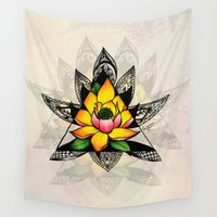 lotus flower Wall Tapestries featuring Lotus by Erica Sanders