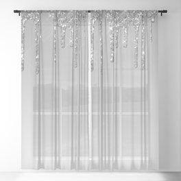 Gray & Silver Glitter Drips Sheer Curtain