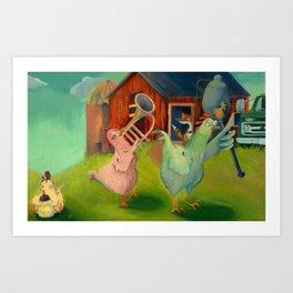 Chicken Parade Art Print