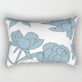 Roses in Blue Rectangular Pillow