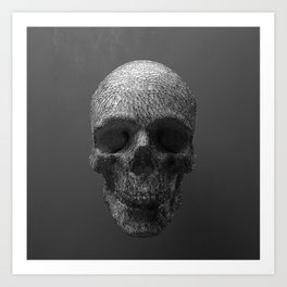 Geometric Grey Skull Lines Art Print
