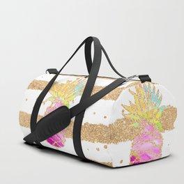 Modern pink watercolor pineapple faux gold glitter stripes Duffle Bag