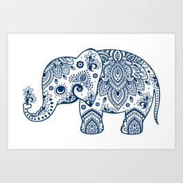 Blue Floral Paisley Cute Elephant Illustration Art Print