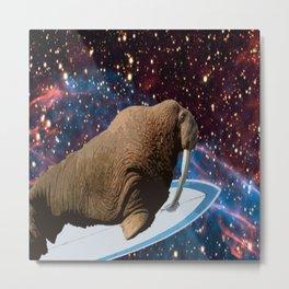 Surfin Space Walrus Metal Print