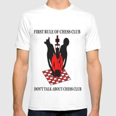 First Rule of Chess Club White MEDIUM Mens Fitted Tee