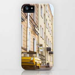 Yellow retro car iPhone Case