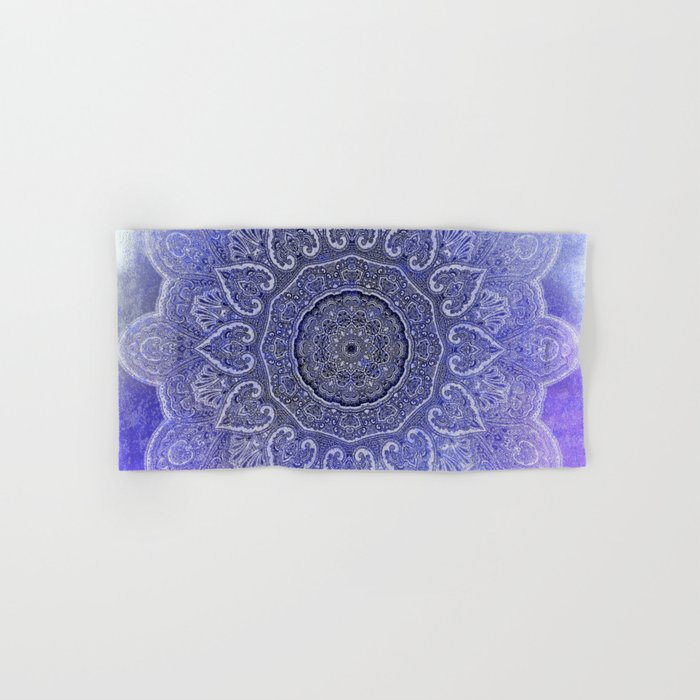 purple mandala of hearts Hand & Bath Towel