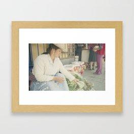 Mujer Peruana en el Mercado Framed Art Print