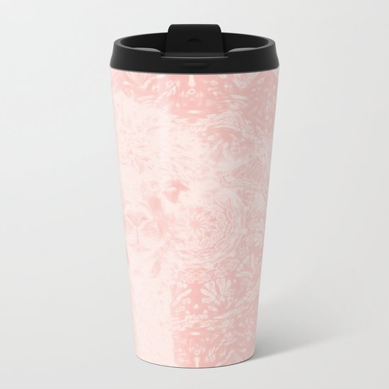 Ghostly alpaca and butterfly with mandala in Rose Quartz Metal Travel Mug
