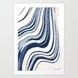 Textured Marble - Indigo Blue Art Print