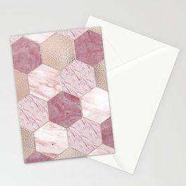 Carnation pink rose gold foil - marble hexagons Stationery Cards