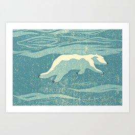 polarbear swimming Art Print
