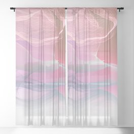 Flow Motion Vibes 1. Pink, Violet and Grey Sheer Curtain