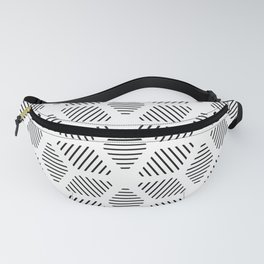 Geometric Line Lines Diamond Shape Tribal Ethnic Pattern Simple Simplistic Minimal Black and White Fanny Pack
