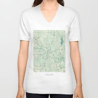 dallas V-neck T-shirts featuring Dallas Map Blue Vintage by City Art Posters
