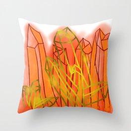 Crystals - Orange Throw Pillow