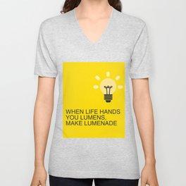 When Life hands you Lumens, make Lumenade! Yellow Light Bulb Unisex V-Neck
