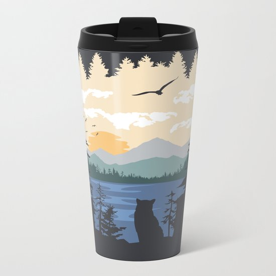 Mountain Lion Wilderness Metal Travel Mug