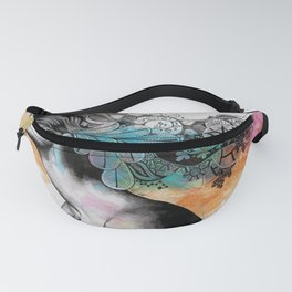 Moral Eclipse II (portrait of woman with doodles sketch) Fanny Pack