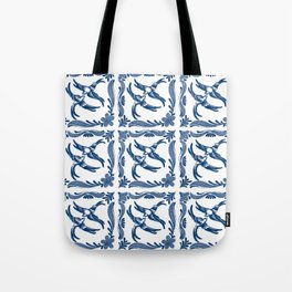 Blue and white swallows birds chinoiserie china porcelain toile asian ginger jar delft pattern Tote Bag
