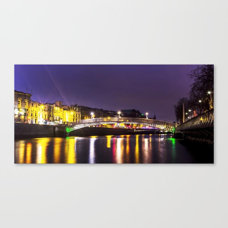 Liffey Bridge Ha'penny Bridge At Night Dublin Irel… Canvas Print by Alexartphotovideo CNV8634972