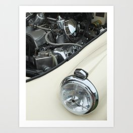 vintage white car - details Art Print