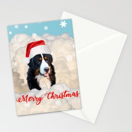 Bernese Mountain Dog Santa Claus Clouds - Merry Christmas Stationery Cards
