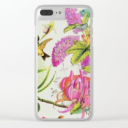 Vintage Bird Floral in Grainy Eggshell Clear iPhone Case