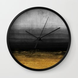 Black and Gold grunge stripes on modern grey concrete abstract background - Stripe -Striped Wall Clock