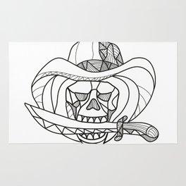 Cowboy Pirate Skull Biting Dagger Mosaic Rug