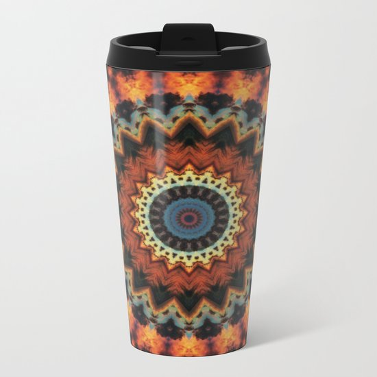Fundamental Spiral Mandala Metal Travel Mug