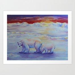 Polar Bears at Sunset Art Print