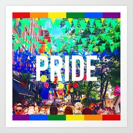 Lgbt gay pride season rainbow flag Manchester  Art Print