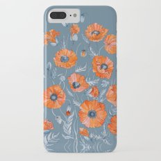 Red poppies in grey iPhone 7 Plus Slim Case