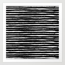 Black white abstract simple stripes motif Art Print
