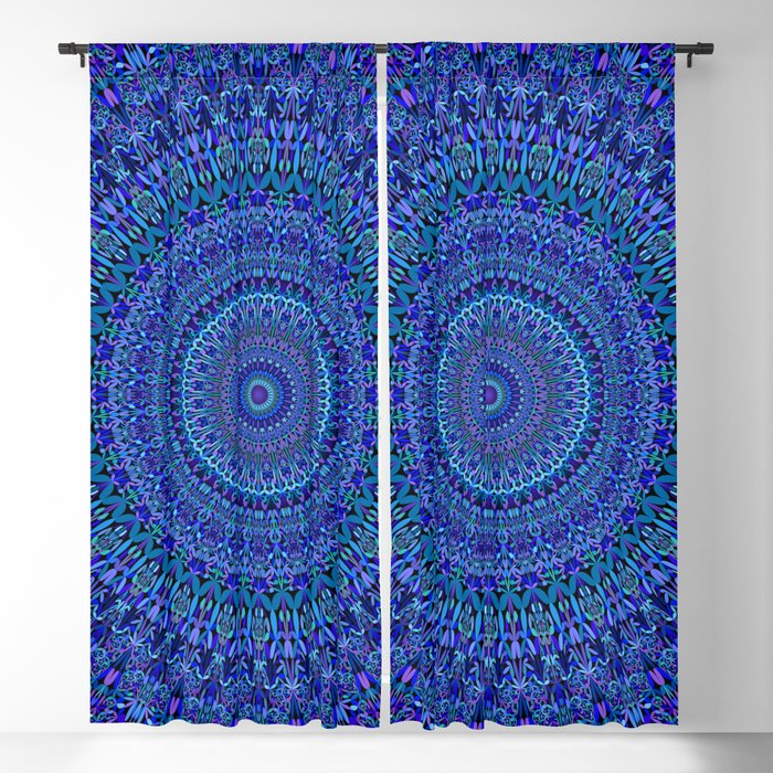 Blue Floral Ornate Mandala Blackout Curtain