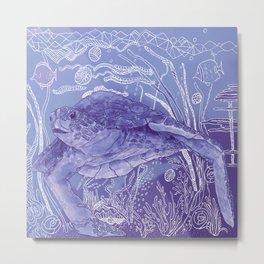 Periwinkle Turtle Metal Print