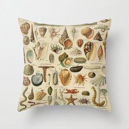 Vintage sealife and seashell illustration Throw Pillow