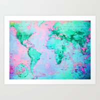 wanderlust Art Prints featuring Wanderlust by ALLY COXON