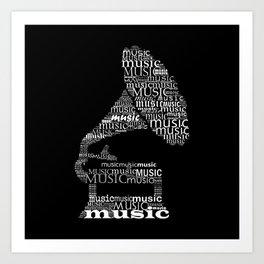 Invert typographic gramophone Art Print